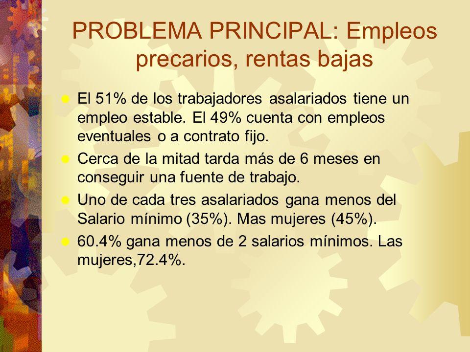 PROBLEMA PRINCIPAL: Empleos precarios, rentas bajas El 51% de los trabajadores asalariados tiene un empleo estable. El 49% cuenta con empleos eventual