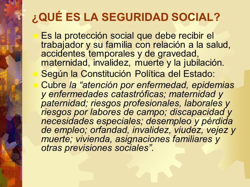 ¿QUÉ ES LA SEGURIDAD SOCIAL? Es la protección social que debe recibir el trabajador y su familia con relación a la salud, accidentes temporales y de g