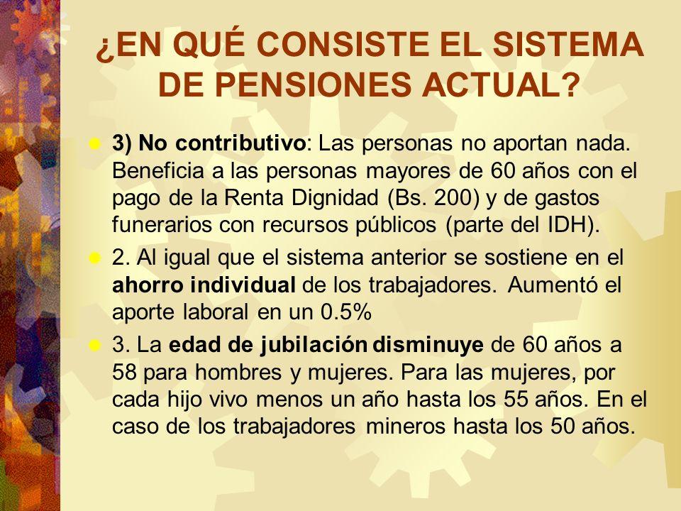 ¿EN QUÉ CONSISTE EL SISTEMA DE PENSIONES ACTUAL? 3) No contributivo: Las personas no aportan nada. Beneficia a las personas mayores de 60 años con el