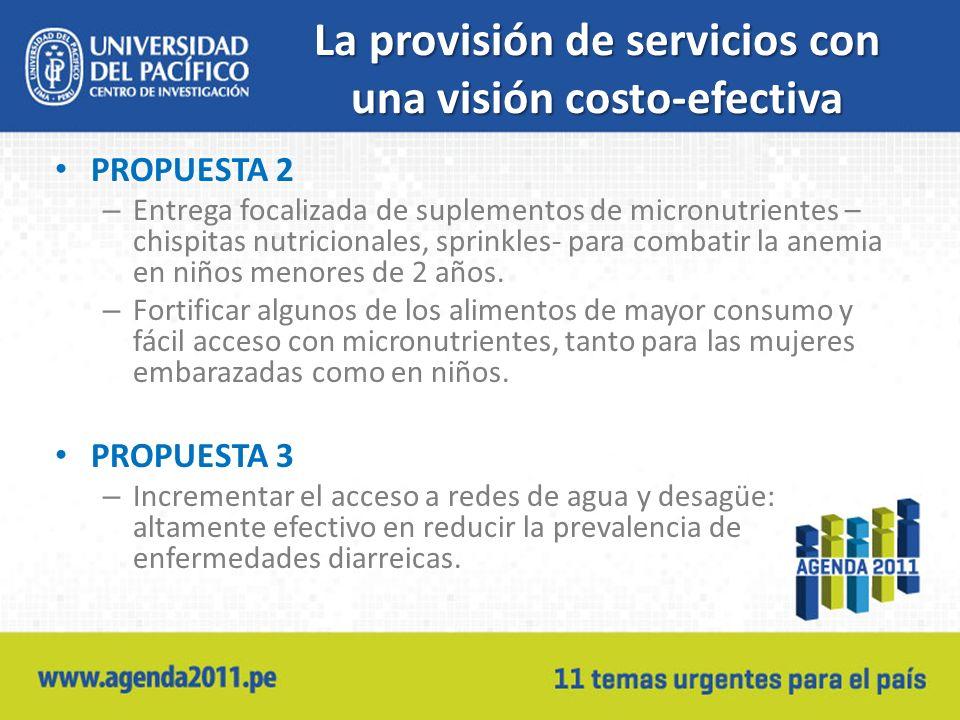 La provisión de servicios con una visión costo-efectiva PROPUESTA 2 – Entrega focalizada de suplementos de micronutrientes – chispitas nutricionales, sprinkles- para combatir la anemia en niños menores de 2 años.