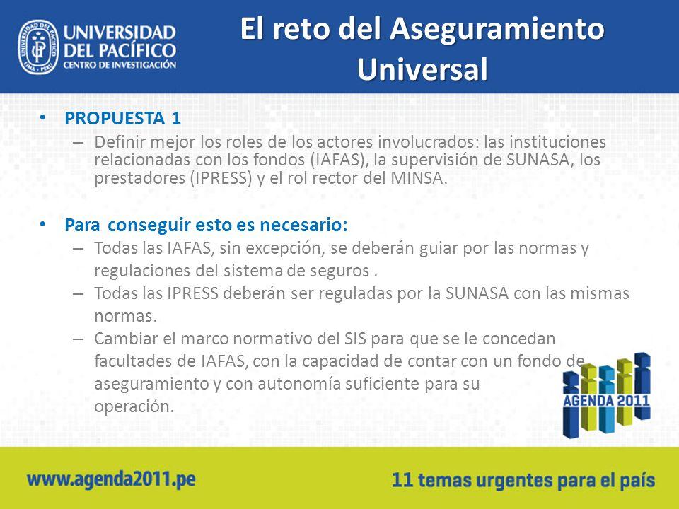 El reto del Aseguramiento Universal PROPUESTA 1 – Definir mejor los roles de los actores involucrados: las instituciones relacionadas con los fondos (IAFAS), la supervisión de SUNASA, los prestadores (IPRESS) y el rol rector del MINSA.