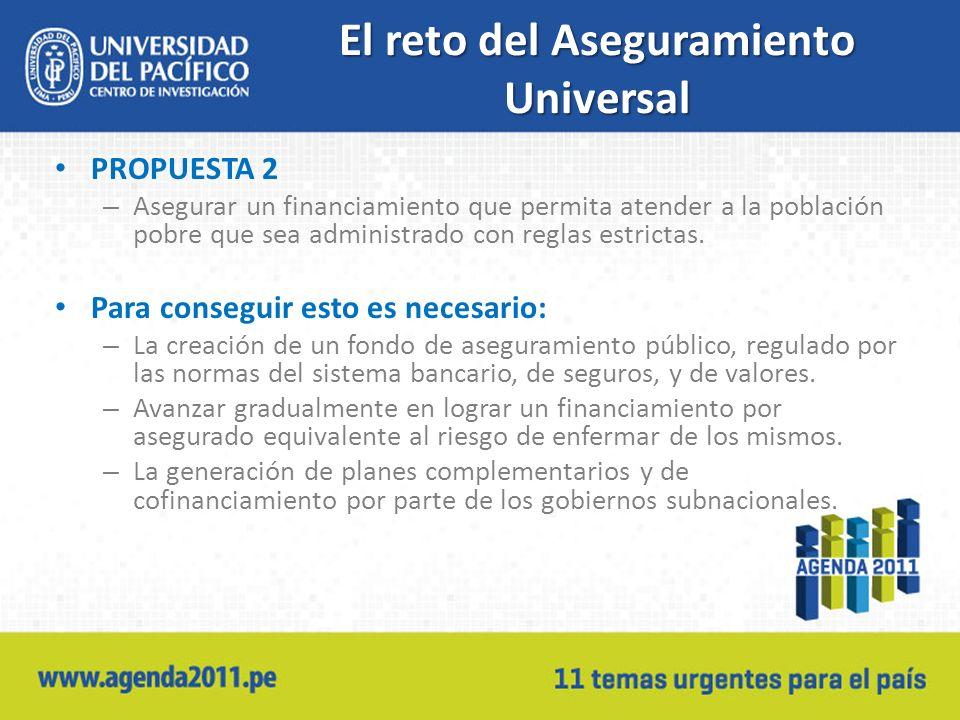 El reto del Aseguramiento Universal PROPUESTA 2 – Asegurar un financiamiento que permita atender a la población pobre que sea administrado con reglas estrictas.