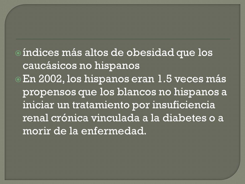 índices más altos de obesidad que los caucásicos no hispanos En 2002, los hispanos eran 1.5 veces más propensos que los blancos no hispanos a iniciar un tratamiento por insuficiencia renal crónica vinculada a la diabetes o a morir de la enfermedad.