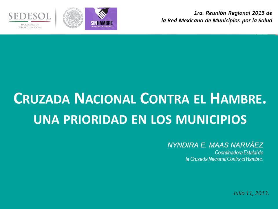 1 1ra. Reunión Regional 2013 de la Red Mexicana de Municipios por la Salud C RUZADA N ACIONAL C ONTRA EL H AMBRE. UNA PRIORIDAD EN LOS MUNICIPIOS Juli