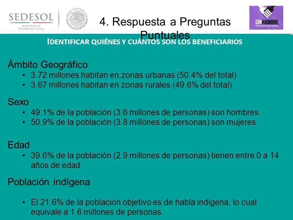 16 Ámbito Geográfico 3.72 millones habitan en zonas urbanas (50.4% del total) 3.67 millones habitan en zonas rurales (49.6% del total) Sexo 49.1% de l