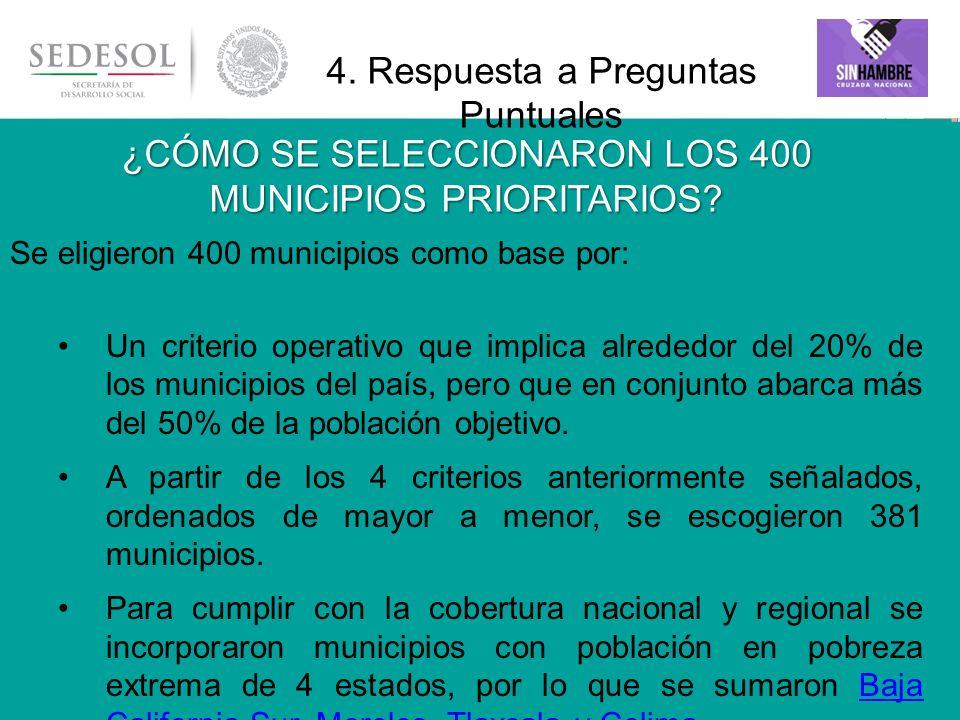 18 ¿CÓMO SE SELECCIONARON LOS 400 MUNICIPIOS PRIORITARIOS? Se eligieron 400 municipios como base por: Un criterio operativo que implica alrededor del