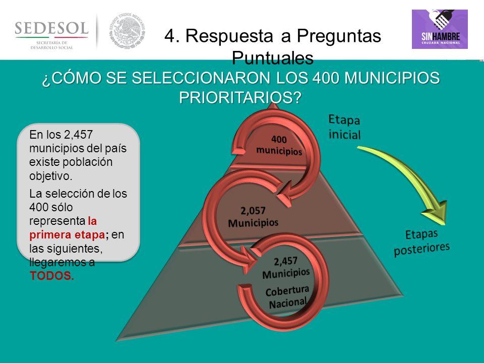En los 2,457 municipios del país existe población objetivo. La selección de los 400 sólo representa la primera etapa; en las siguientes, llegaremos a