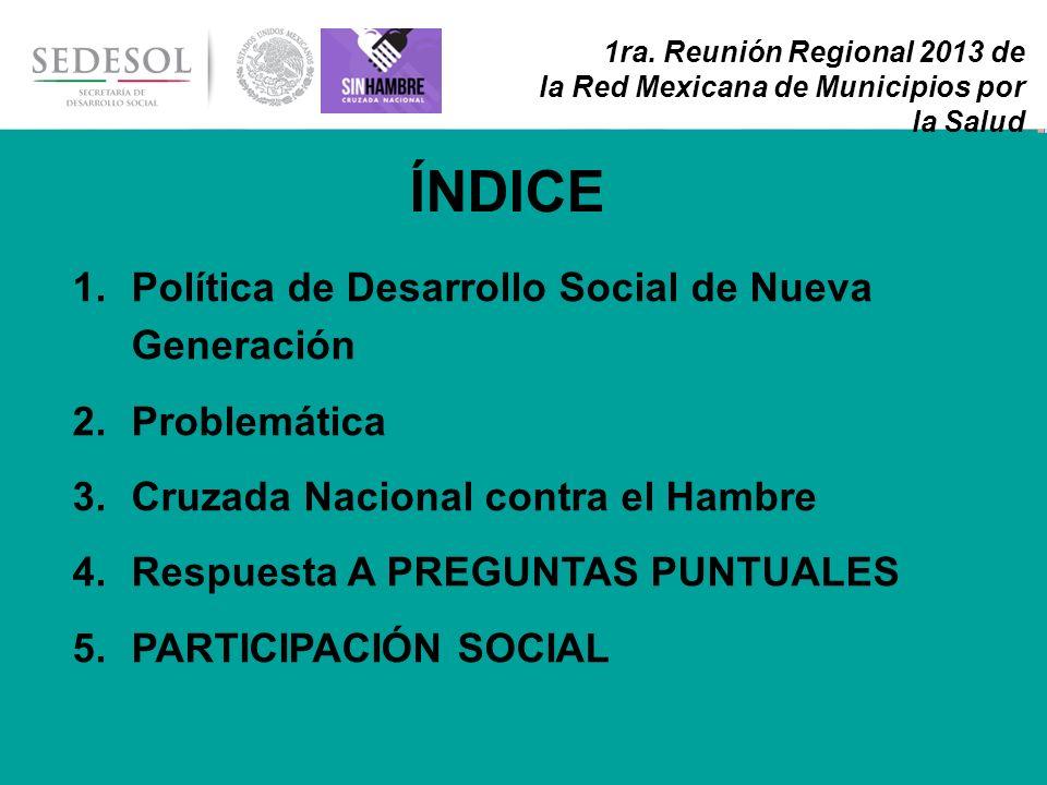 2 1ra. Reunión Regional 2013 de la Red Mexicana de Municipios por la Salud 1.Política de Desarrollo Social de Nueva Generación 2.Problemática 3.Cruzad