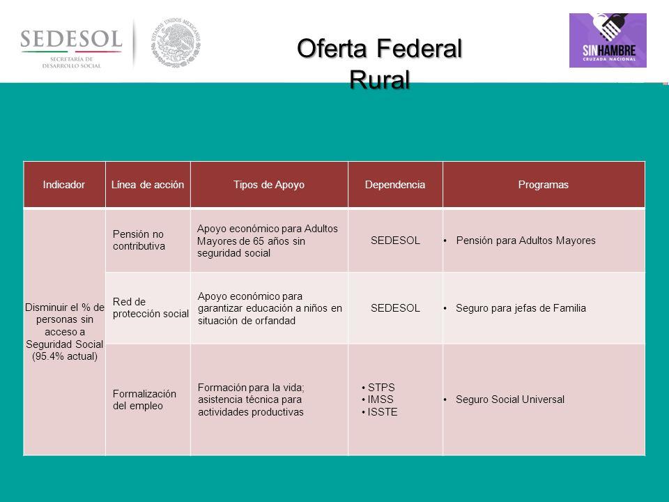 29 Oferta Federal Rural IndicadorLínea de acciónTipos de ApoyoDependenciaProgramas Disminuir el % de personas sin acceso a Seguridad Social (95.4% act