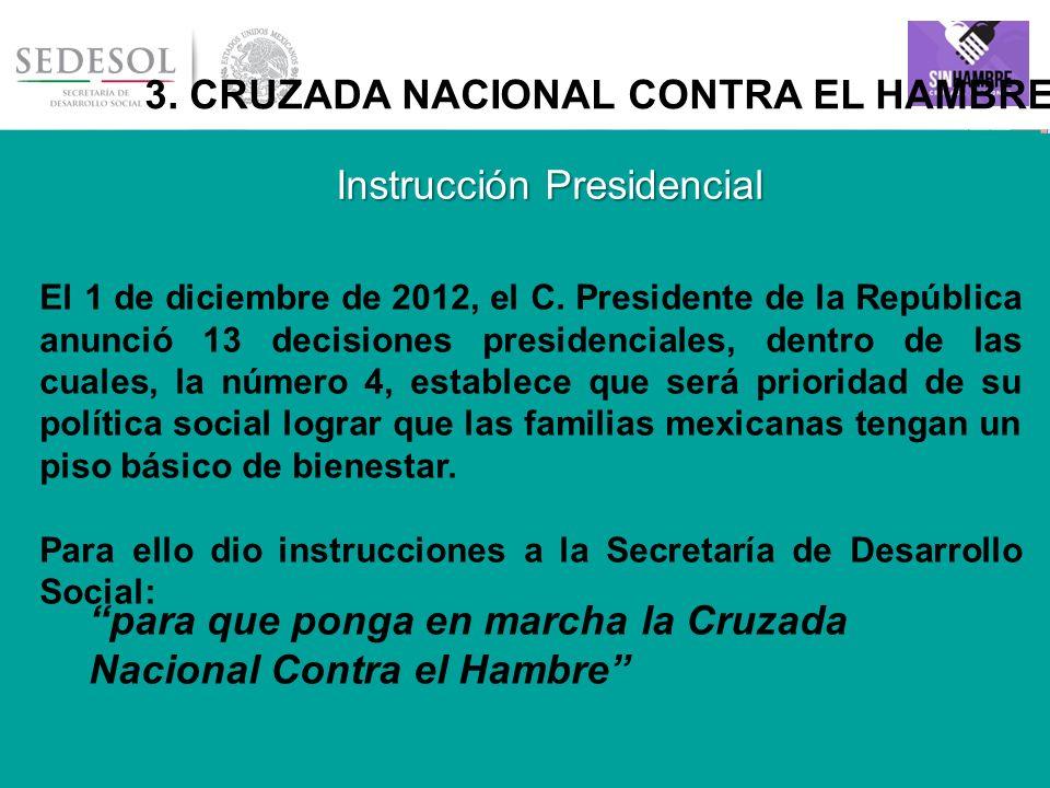 9 3. CRUZADA NACIONAL CONTRA EL HAMBRE El 1 de diciembre de 2012, el C. Presidente de la República anunció 13 decisiones presidenciales, dentro de las