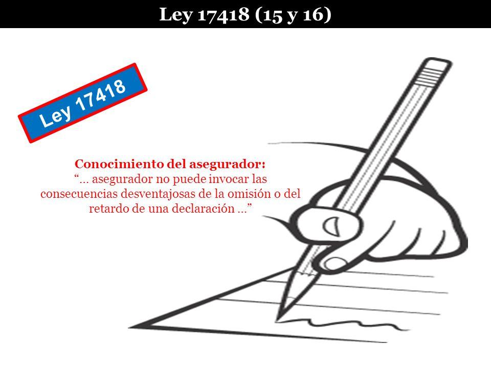 Ley 17418 (15 y 16) Conocimiento del asegurador: … asegurador no puede invocar las consecuencias desventajosas de la omisión o del retardo de una decl