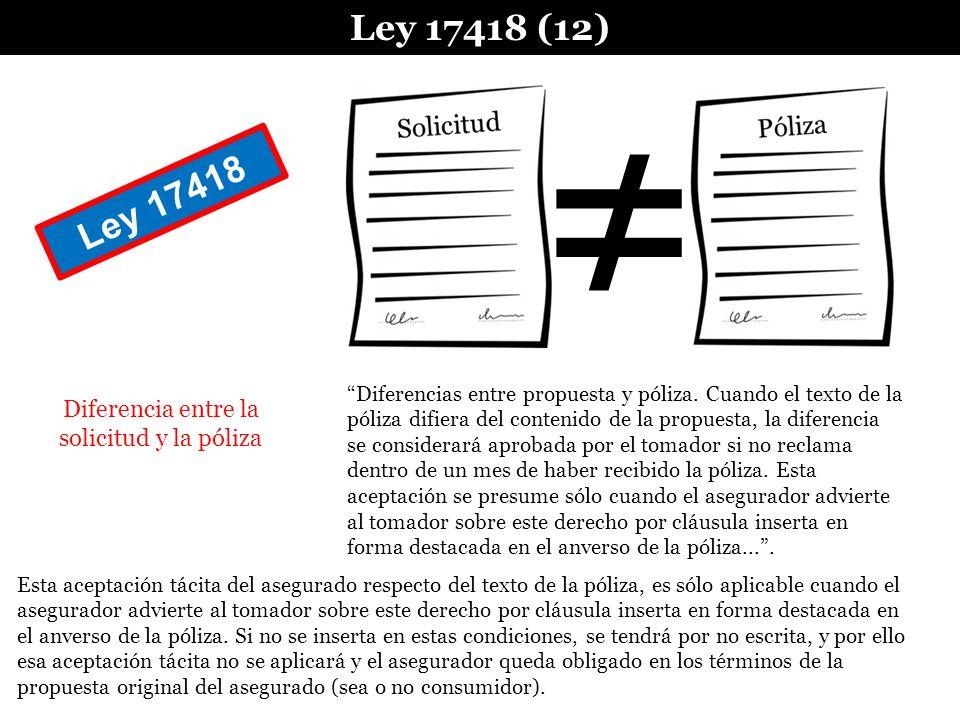 Diferencia entre la solicitud y la póliza Ley 17418 (12) Esta aceptación tácita del asegurado respecto del texto de la póliza, es sólo aplicable cuand
