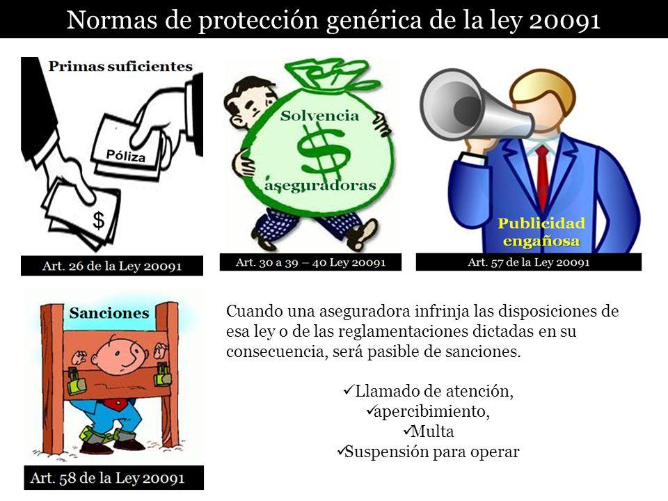 Normas de protección genérica de la ley 20091 Cuando una aseguradora infrinja las disposiciones de esa ley o de las reglamentaciones dictadas en su co