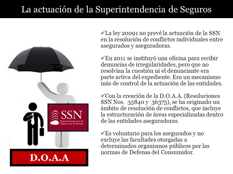La actuación de la Superintendencia de Seguros La ley 20091 no prevé la actuación de la SSN en la resolución de conflictos individuales entre asegurad