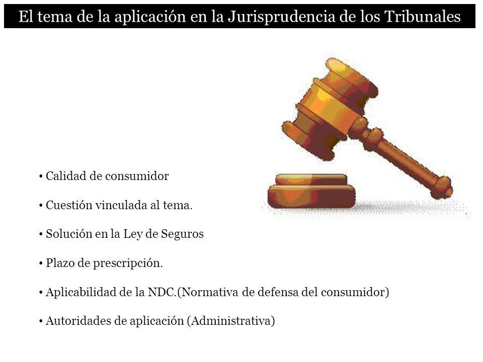 El tema de la aplicación en la Jurisprudencia de los Tribunales Calidad de consumidor Cuestión vinculada al tema. Solución en la Ley de Seguros Plazo