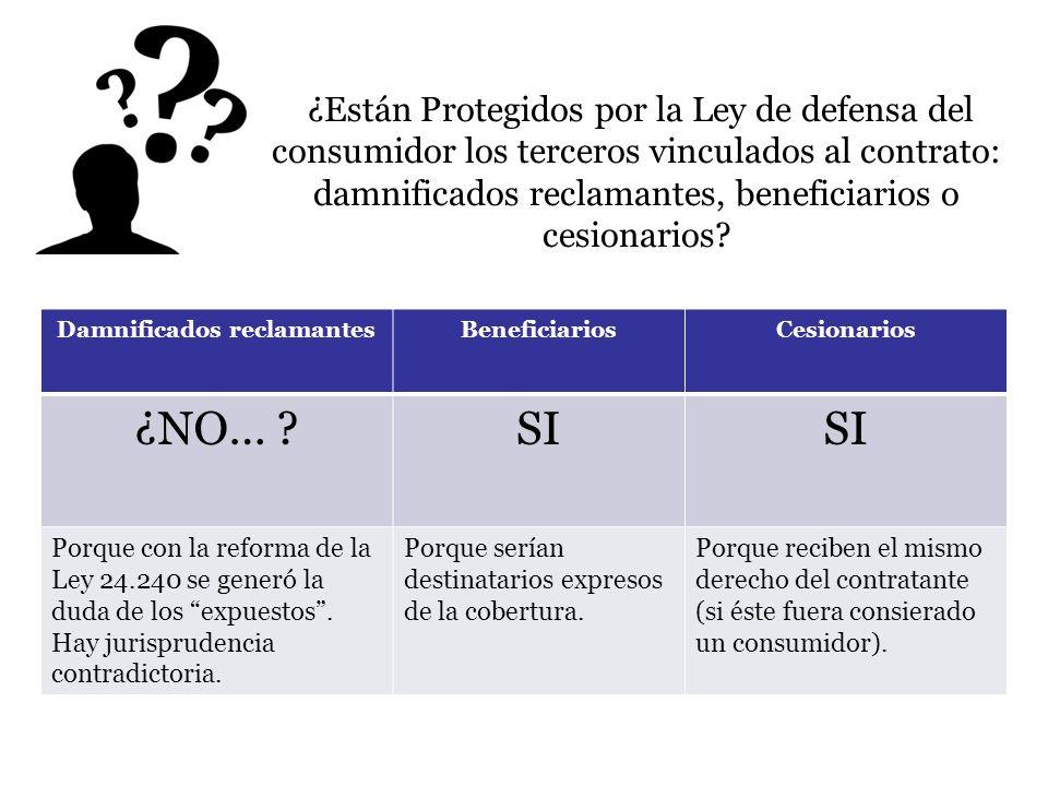 ¿Están Protegidos por la Ley de defensa del consumidor los terceros vinculados al contrato: damnificados reclamantes, beneficiarios o cesionarios? Dam