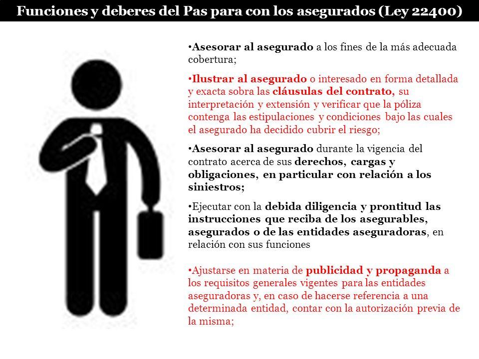 Funciones y deberes del Pas para con los asegurados (Ley 22400) Asesorar al asegurado a los fines de la más adecuada cobertura; Ilustrar al asegurado