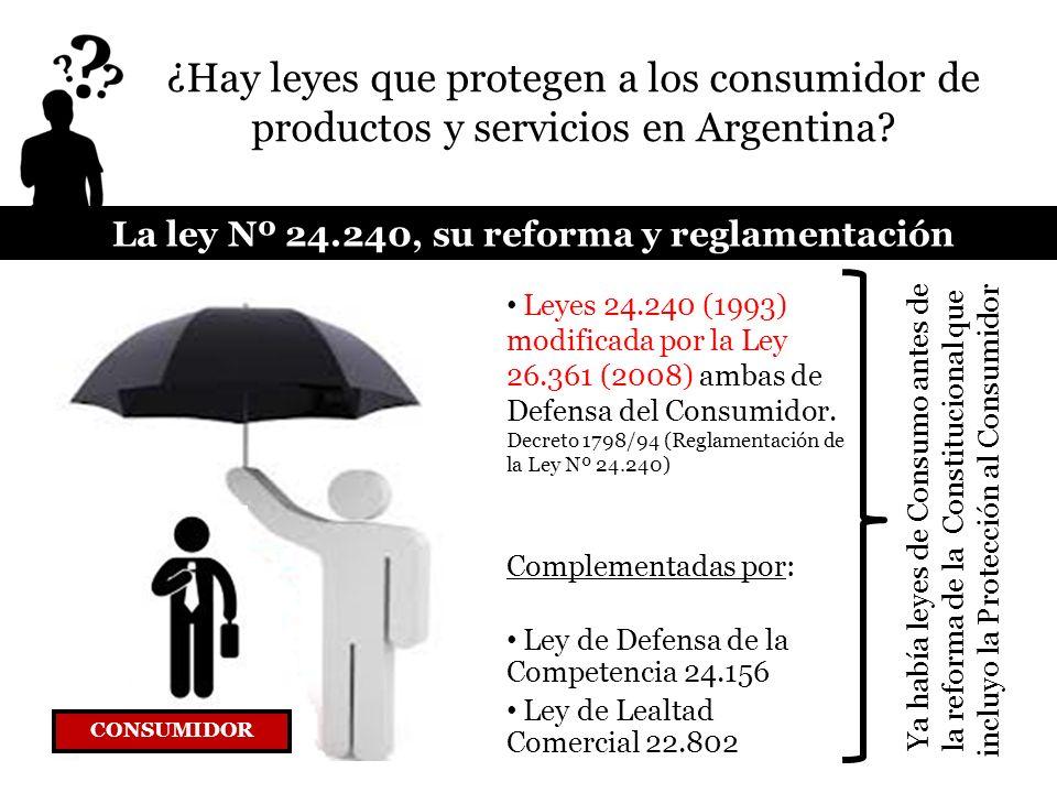 La ley Nº 24.240, su reforma y reglamentación CONSUMIDOR Leyes 24.240 (1993) modificada por la Ley 26.361 (2008) ambas de Defensa del Consumidor. Decr