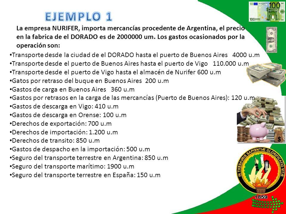 La empresa NURIFER, importa mercancías procedente de Argentina, el precio en la fabrica de el DORADO es de 2000000 um. Los gastos ocasionados por la o