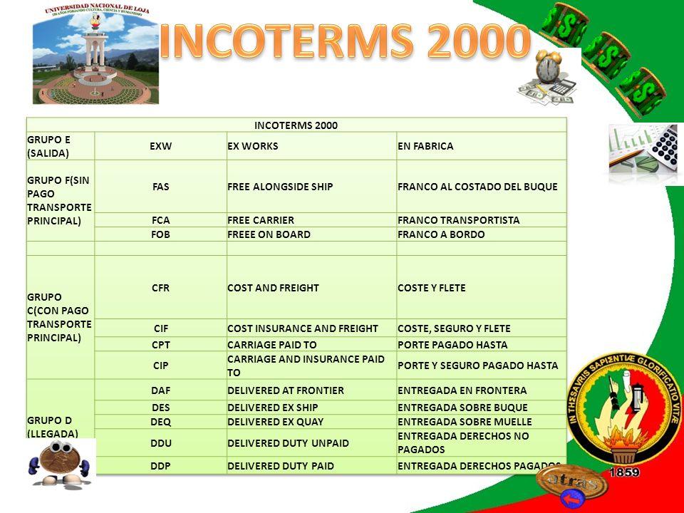 INCOTERMS 2010 CUALQUIER TIPO DE TRANSPORTE EXWEX WORKSEN FABRICA FCAFREE CARRIERFRANCO TRANSPORTISTA CPTCARRIAGE PAID TOPORTE PAGADO HASTA CIPCARRIAGE AND INSURANCE PAID TOPORTE Y SEGURO PAGADO HASTA DAPDELIVERED AT PLACEENTREGADA EN UN PUNTO DATDELIVERED AT TERMINALENTREGADA EN TERMINAL DDPDELIVERED DUTY PAIDENTREGADA DERECHOS PAGADOS TRANSPORTES EN VIAS NAVEGABLES FASFREE ALONGSIDE SHIPFRANCO AL COSTADO DEL BUQUE FOBFREEE ON BOARDFRANCO A BORDO CFRCOST AND FREIGHTCOSTE Y FLETE CIFCOST INSURANCE AND FREIGHTCOSTE, SEGURO Y FLETE