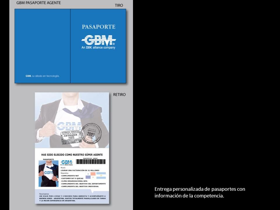 Entrega personalizada de pasaportes con información de la competencia.