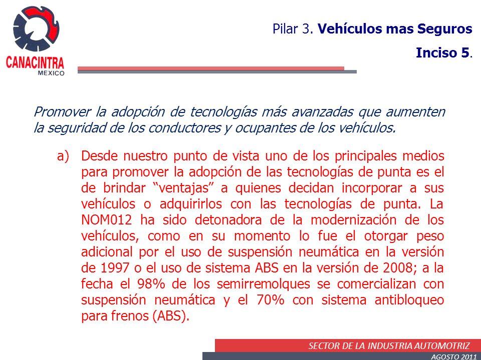 SECTOR DE LA INDUSTRIA AUTOMOTRIZ AGOSTO 2011 Pilar 3. Vehículos mas Seguros Inciso 5. Promover la adopción de tecnologías más avanzadas que aumenten
