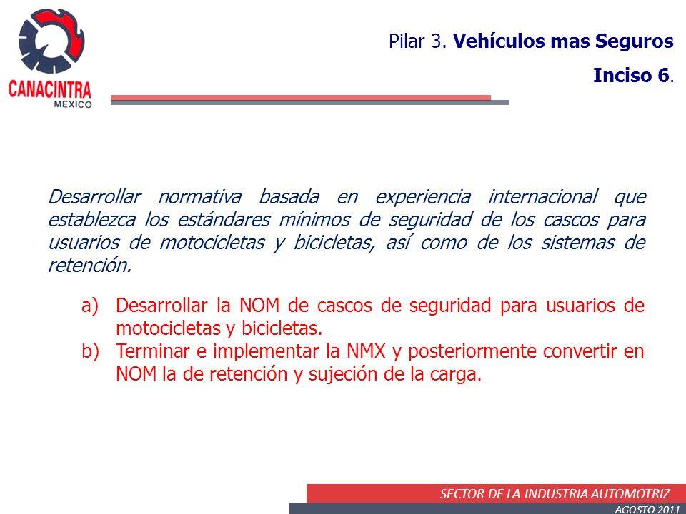 SECTOR DE LA INDUSTRIA AUTOMOTRIZ AGOSTO 2011 Desarrollar normativa basada en experiencia internacional que establezca los estándares mínimos de seguridad de los cascos para usuarios de motocicletas y bicicletas, así como de los sistemas de retención.