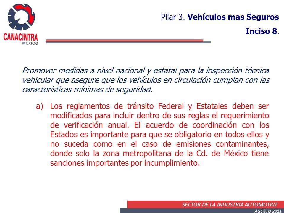 SECTOR DE LA INDUSTRIA AUTOMOTRIZ AGOSTO 2011 Pilar 3. Vehículos mas Seguros Inciso 8. Promover medidas a nivel nacional y estatal para la inspección