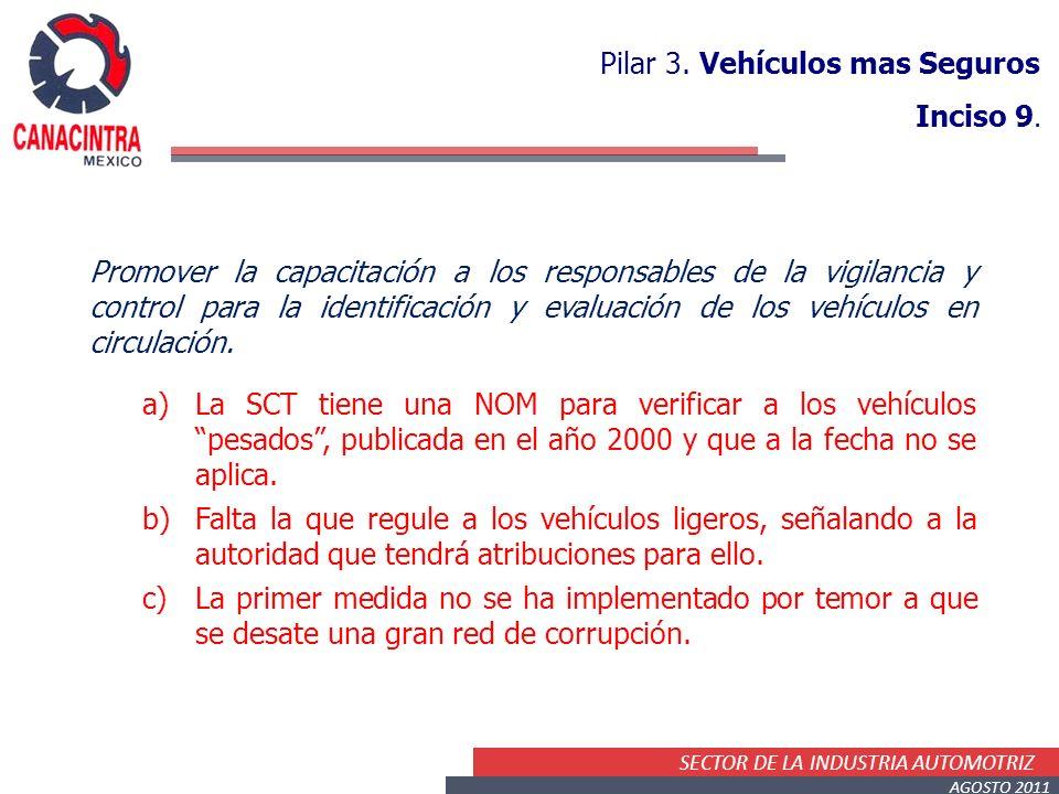 SECTOR DE LA INDUSTRIA AUTOMOTRIZ AGOSTO 2011 Pilar 3. Vehículos mas Seguros Inciso 9. Promover la capacitación a los responsables de la vigilancia y