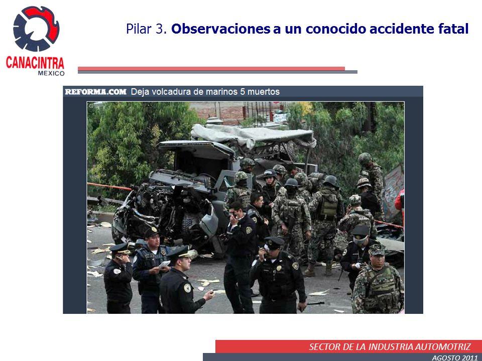 SECTOR DE LA INDUSTRIA AUTOMOTRIZ AGOSTO 2011 Pilar 3. Observaciones a un conocido accidente fatal