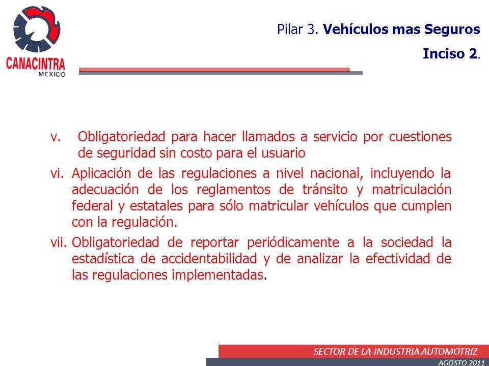 SECTOR DE LA INDUSTRIA AUTOMOTRIZ AGOSTO 2011 v.Obligatoriedad para hacer llamados a servicio por cuestiones de seguridad sin costo para el usuario vi