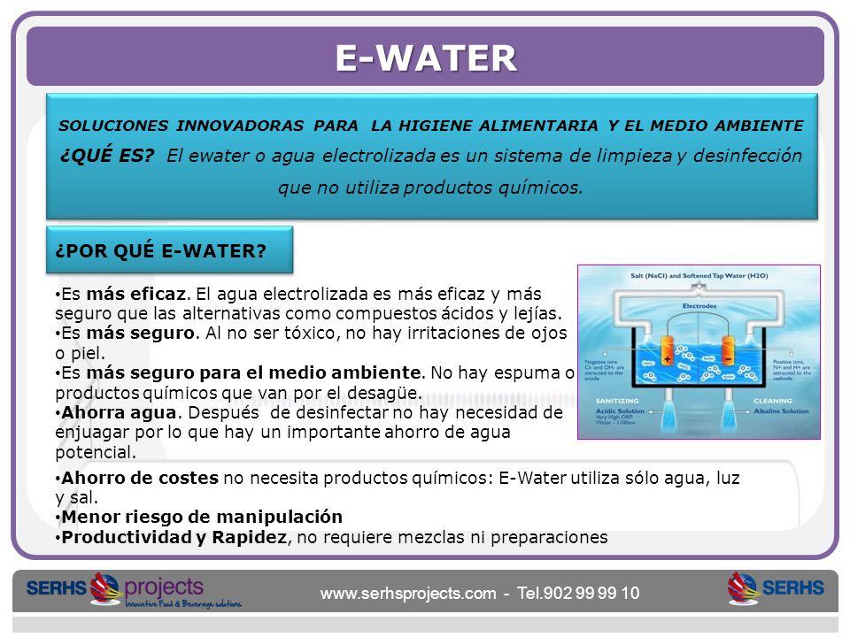 www.serhsprojects.com - Tel.902 99 99 10 E-WATER SOLUCIONES INNOVADORAS PARA LA HIGIENE ALIMENTARIA Y EL MEDIO AMBIENTE ¿QUÉ ES? El ewater o agua elec