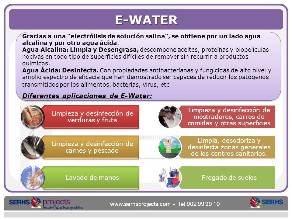 www.serhsprojects.com - Tel.902 99 99 10 E-WATER Gracias a una electrólisis de solución salina, se obtiene por un lado agua alcalina y por otro agua á