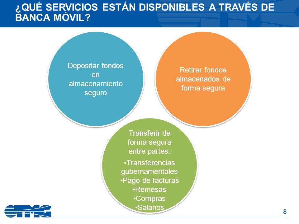8 ¿QUÉ SERVICIOS ESTÁN DISPONIBLES A TRAVÉS DE BANCA MÓVIL? Transferir de forma segura entre partes: Transferencias gubernamentales Pago de facturas R
