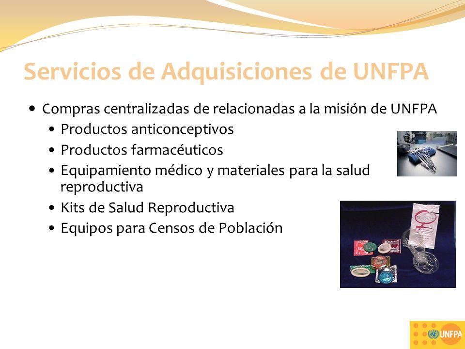 Servicios de Adquisiciones de UNFPA Compras centralizadas de relacionadas a la misión de UNFPA Productos anticonceptivos Productos farmacéuticos Equipamiento médico y materiales para la salud reproductiva Kits de Salud Reproductiva Equipos para Censos de Población 3