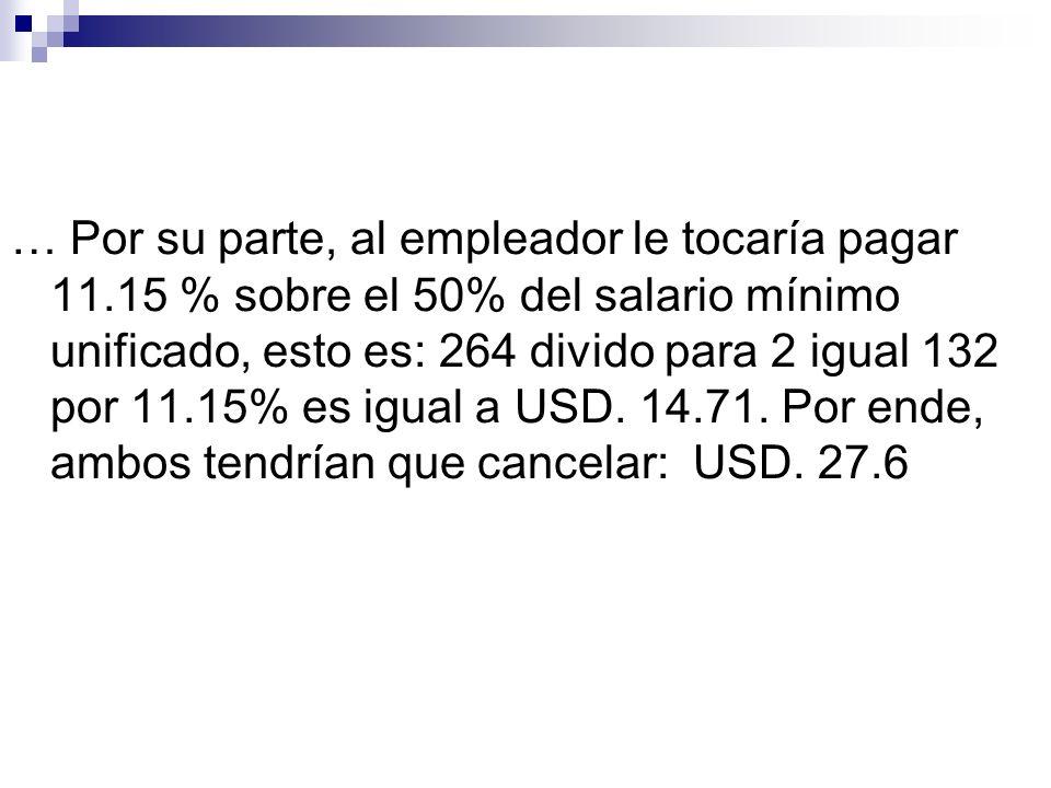 … Por su parte, al empleador le tocaría pagar 11.15 % sobre el 50% del salario mínimo unificado, esto es: 264 divido para 2 igual 132 por 11.15% es ig