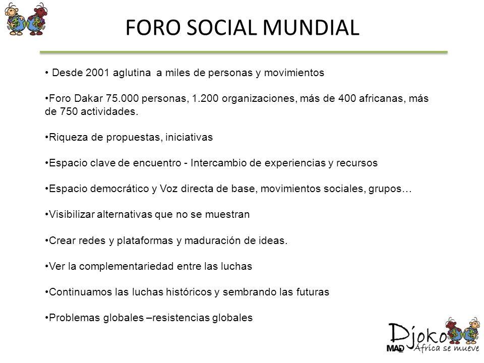 FORO SOCIAL MUNDIAL Desde 2001 aglutina a miles de personas y movimientos Foro Dakar 75.000 personas, 1.200 organizaciones, más de 400 africanas, más