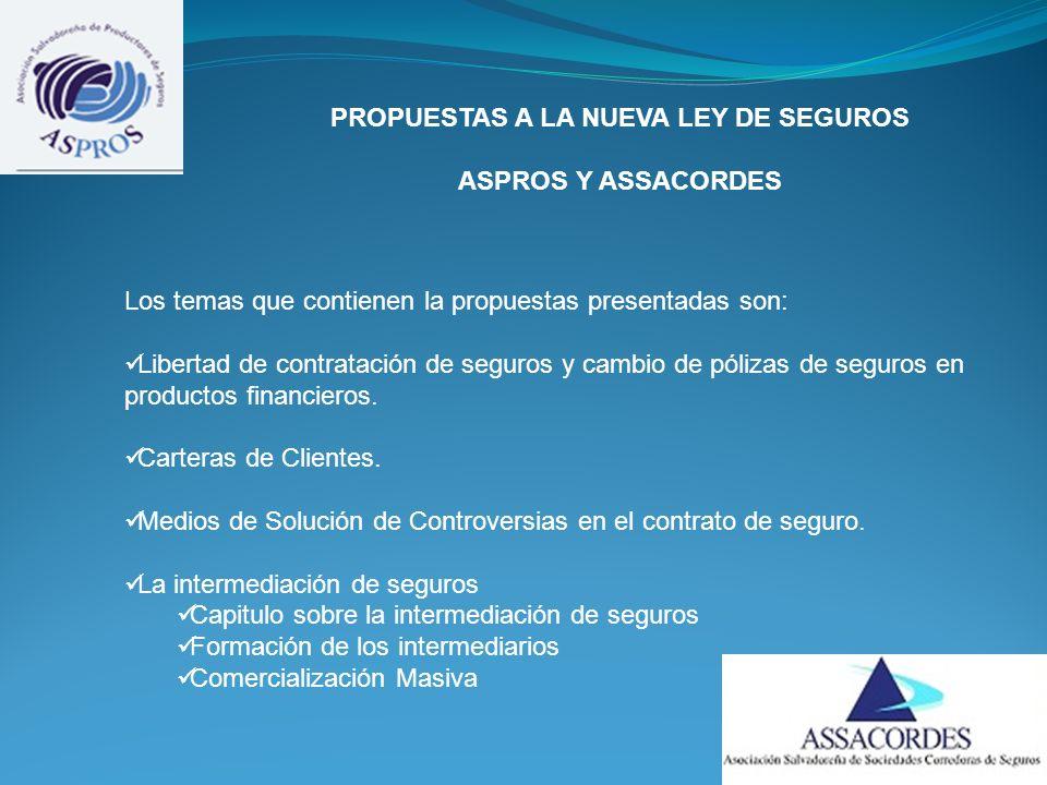 PROPUESTAS A LA NUEVA LEY DE SEGUROS ASPROS Y ASSACORDES Los temas que contienen la propuestas presentadas son: Libertad de contratación de seguros y cambio de pólizas de seguros en productos financieros.