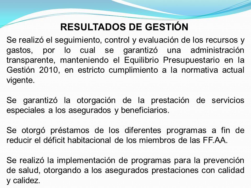 RESULTADOS DE GESTIÓN Se realizó el seguimiento, control y evaluación de los recursos y gastos, por lo cual se garantizó una administración transparen