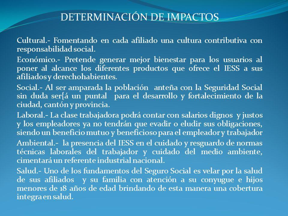 DETERMINACIÓN DE IMPACTOS Cultural.- Fomentando en cada afiliado una cultura contributiva con responsabilidad social. Económico.- Pretende generar mej