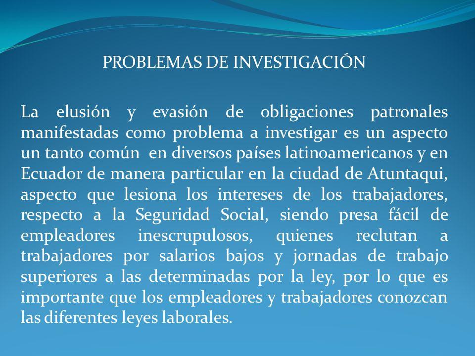 PROBLEMAS DE INVESTIGACIÓN La elusión y evasión de obligaciones patronales manifestadas como problema a investigar es un aspecto un tanto común en div