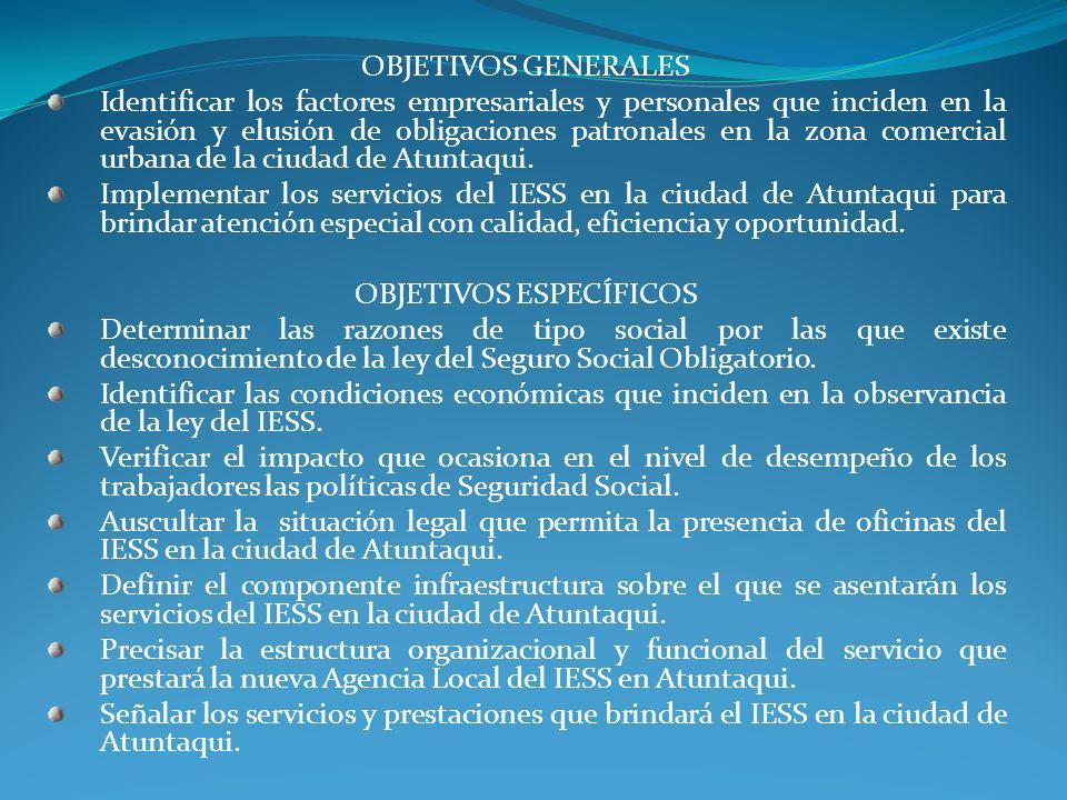 OBJETIVOS GENERALES Identificar los factores empresariales y personales que inciden en la evasión y elusión de obligaciones patronales en la zona come
