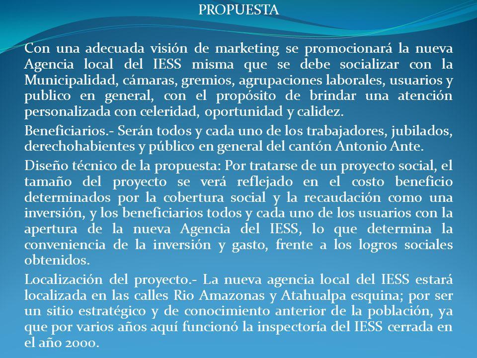 PROPUESTA Con una adecuada visión de marketing se promocionará la nueva Agencia local del IESS misma que se debe socializar con la Municipalidad, cáma