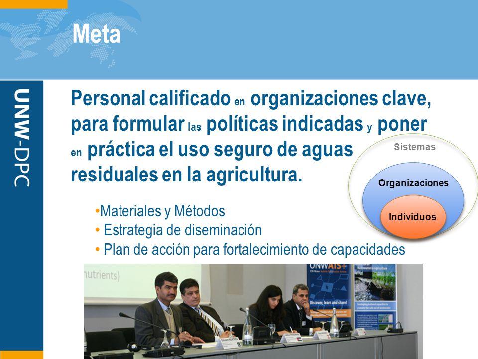 Meta Personal calificado en organizaciones clave, para formular las políticas indicadas y poner en práctica el uso seguro de aguas residuales en la ag