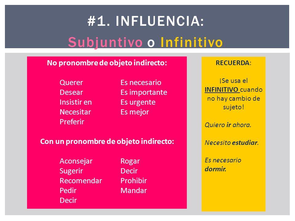 #1. INFLUENCIA: Subjuntivo o Infinitivo No pronombre de objeto indirecto: Querer Es necesario Desear Es importante Insistir en Es urgente Necesitar Es