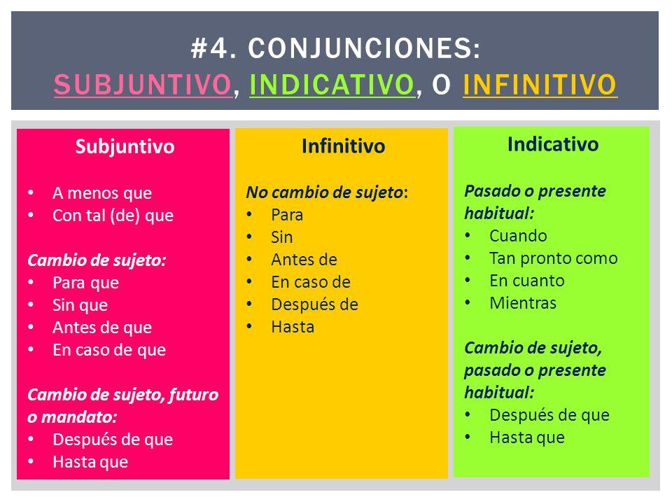 #4. CONJUNCIONES: SUBJUNTIVO, INDICATIVO, O INFINITIVO Infinitivo No cambio de sujeto: Para Sin Antes de En caso de Después de Hasta Indicativo Pasado