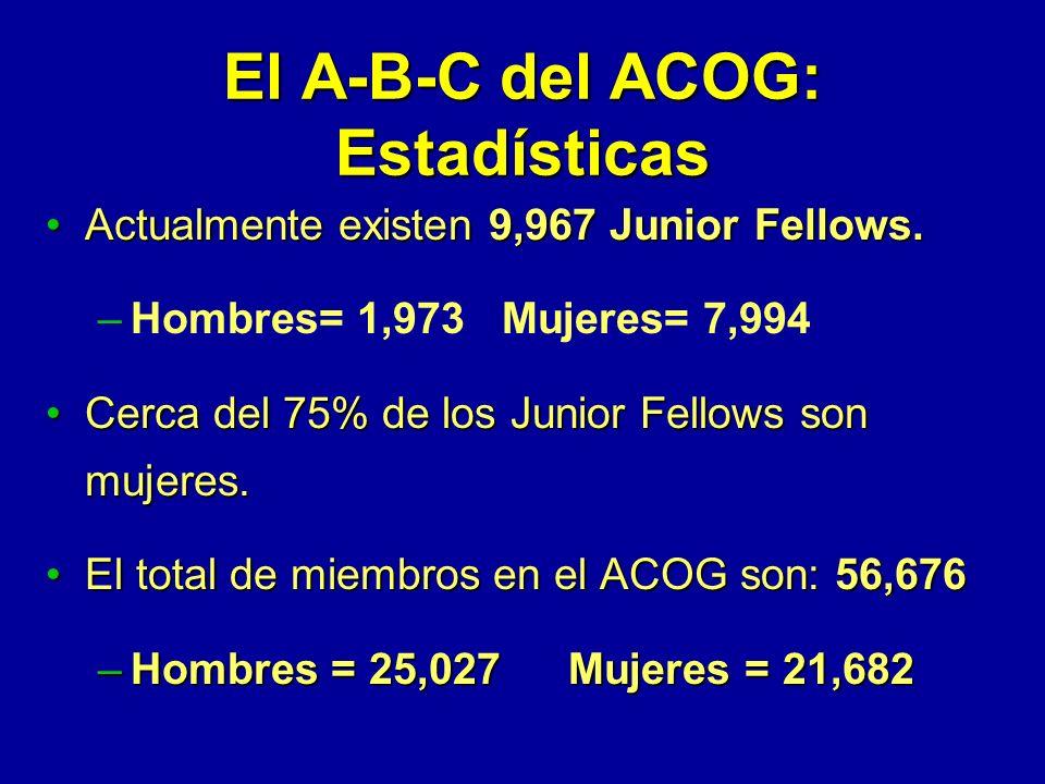 El A-B-C del ACOG: Estadísticas Actualmente existen 9,967 Junior Fellows.Actualmente existen 9,967 Junior Fellows.