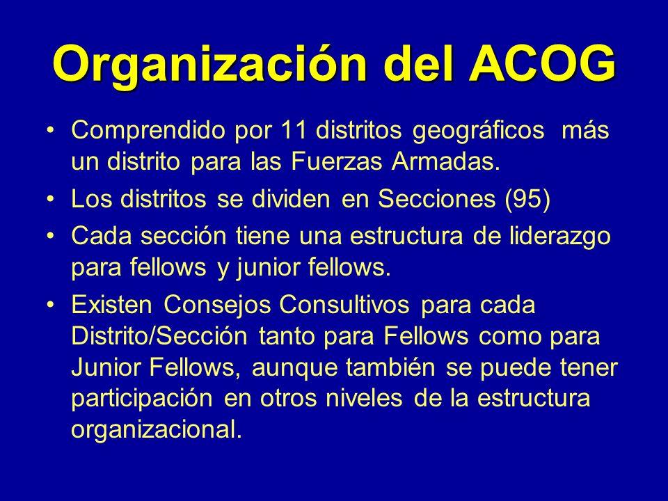 Organización del ACOG Comprendido por 11 distritos geográficos más un distrito para las Fuerzas Armadas.