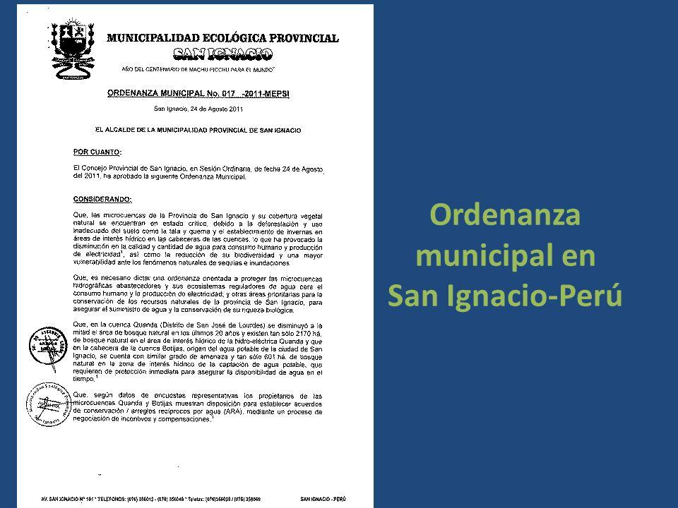 Ordenanza municipal en San Ignacio-Perú