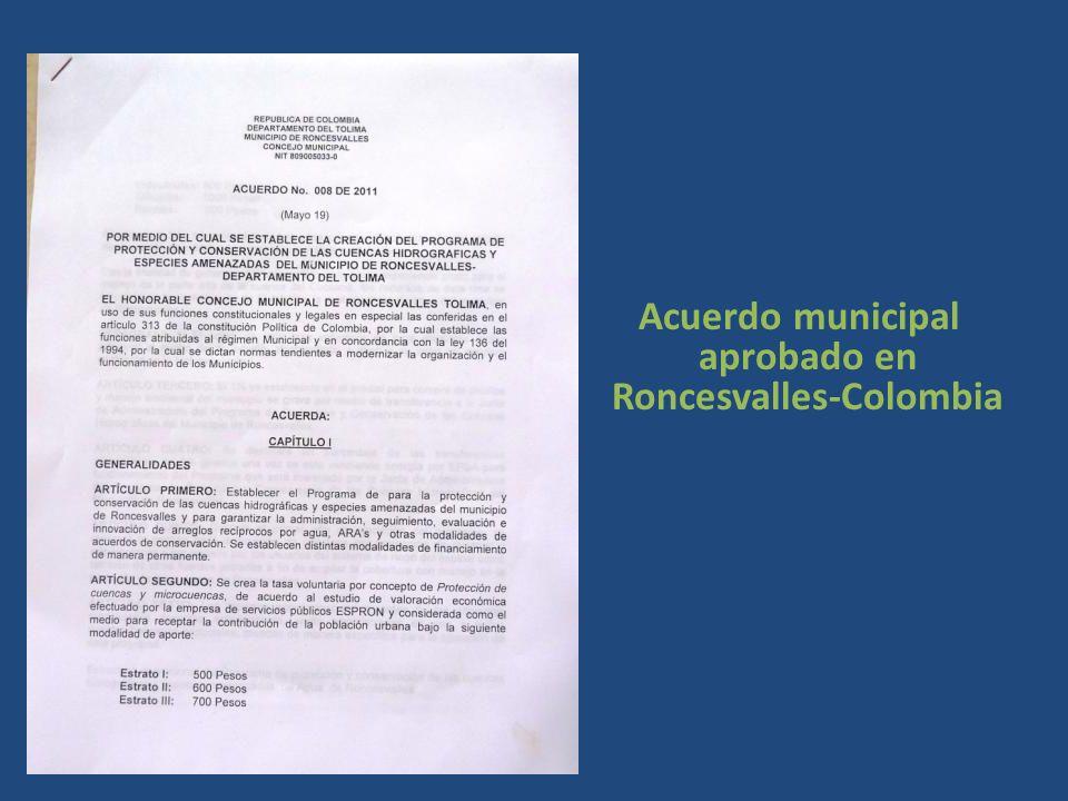 Acuerdo municipal aprobado en Roncesvalles-Colombia